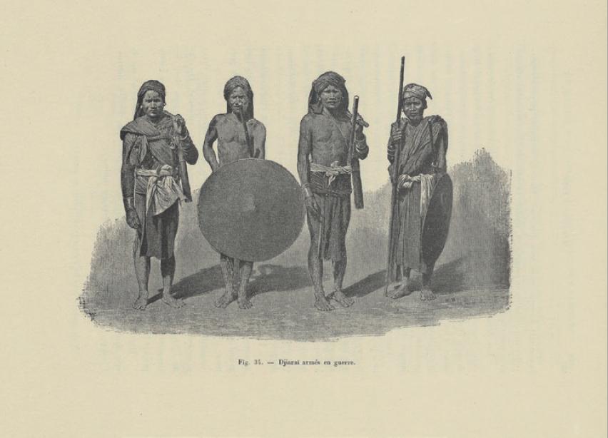 Figure 2 – Guerriers jarais. Extrait de Cupet,           . Paris:           Ernest Leroux, 1900, p.307 (coll. BNU)