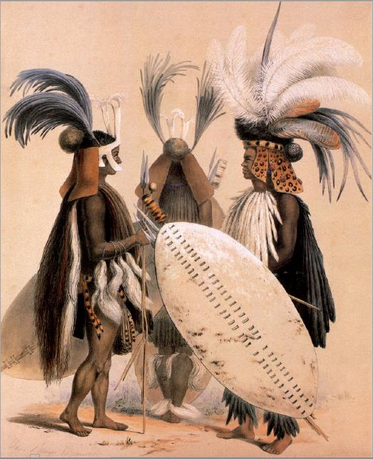 Figure 5 – Guerriers zoulous de l'armée du             roi Umpanda. Lithographie de Georges F.Angas, ca.1840 (coll.             Museum Africa, Johannesburg)
