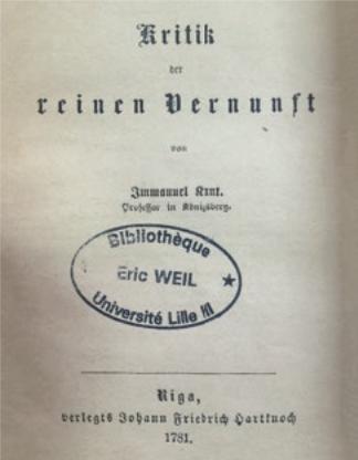 Figure 11 – Kant, , édition originale, Riga, 1781 (coll. Institut           Éric Weil).