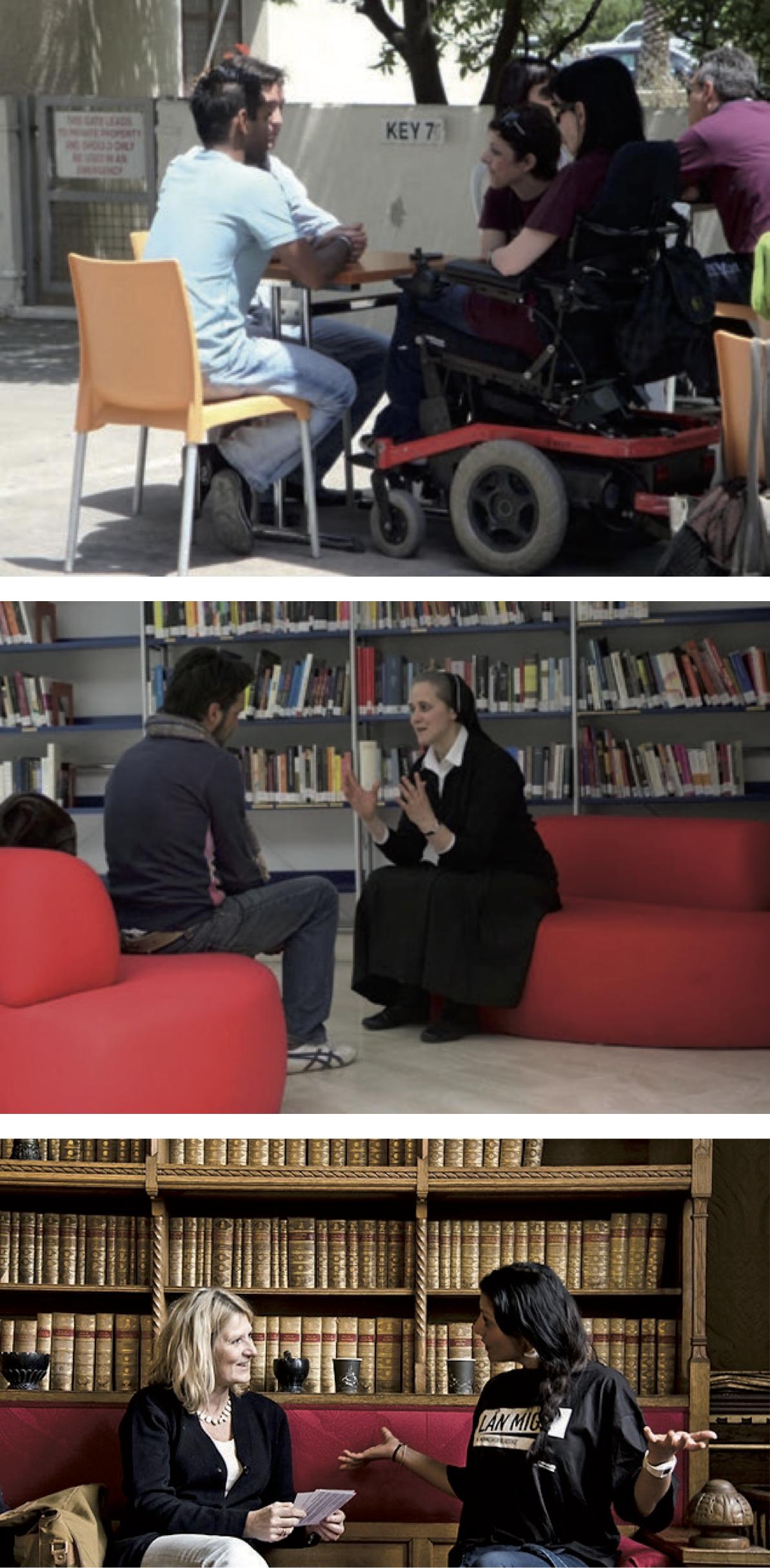 Figure 1 – (de haut en bas) :Une personne           handicapée et ses « lecteurs » (Limassol, Chypre, 2009)Une           religieuse et son « lecteur » (Terni, Italie, 2010)Une rappeuse           et sa « lectrice » (Copenhague, 2010)