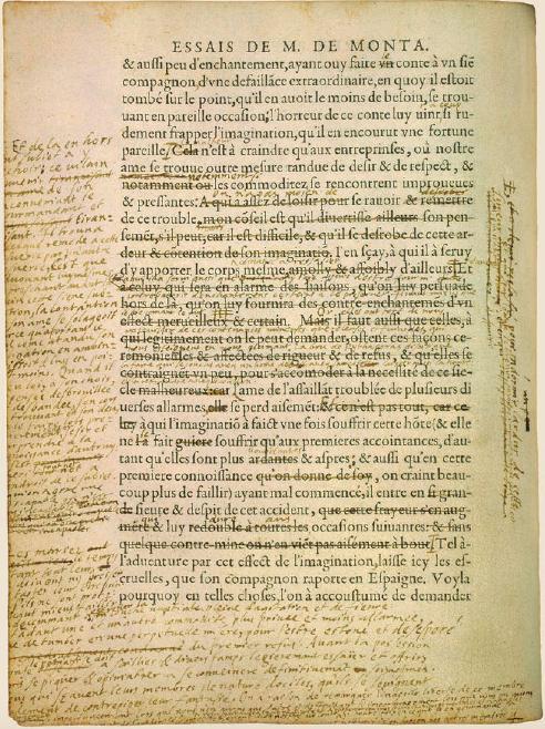 Figure 2 – ,           «livre vivant» de Montaigne: page annotée de la main de l'auteur           (exemplaire dit de Bordeaux; coll. Bibliothèque municipale de           Bordeaux)