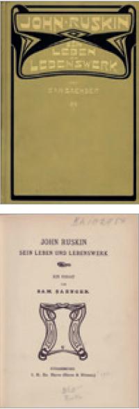 Figure 8 – Henry Van de Velde, couverture et             vignette pour la page de titre de l'ouvrage de Samuel Saenger, ,             Strasbourg, Heitz, 1900 (coll. BNU)