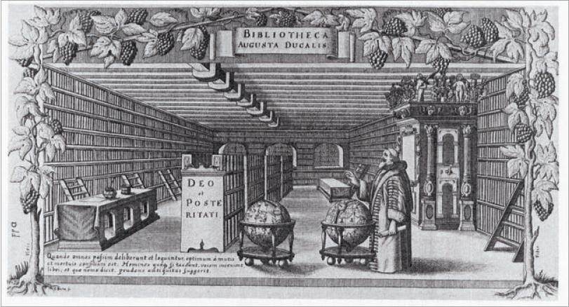 Figure 2 – Le duc Auguste dans sa             bibliothèque. On notera la grande précision de la représentation,             dont les détails sont confirmés par une description réalisée par             Leibniz (in Martin Gosky, , 1650)