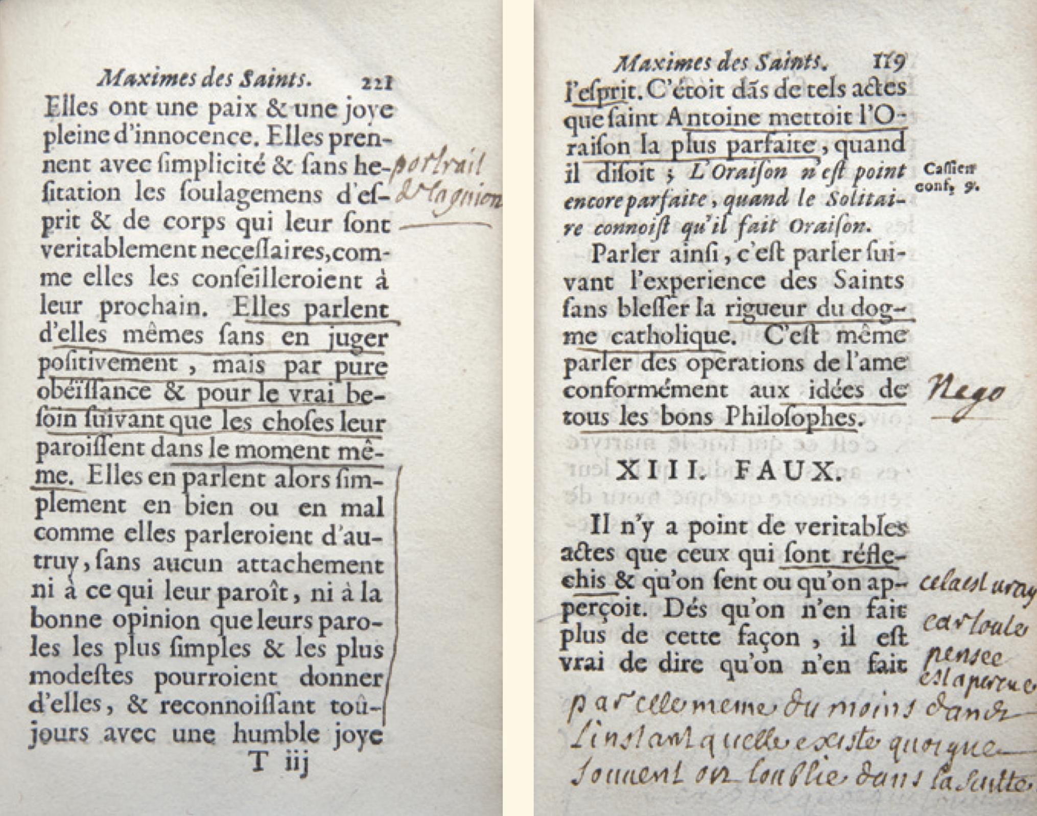 Figure 4 – Deux pages d'un exemplaire annoté           par Phélipeaux, trésorier de l'église de Meaux, proche de Bossuet,           de l'           (1697) de Fénelon (coll. J.LeBrun).
