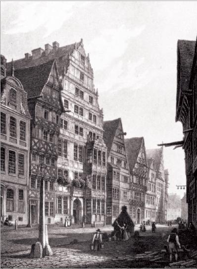 Figure 1 – Vue du dernier lieu de résidence de           Leibniz à Hanovre. Dans cette maison se trouvait aussi la           bibliothèque princière (in , éd. par Kurt Müller et           Gisela Krönert, Francfort/M., 1969)