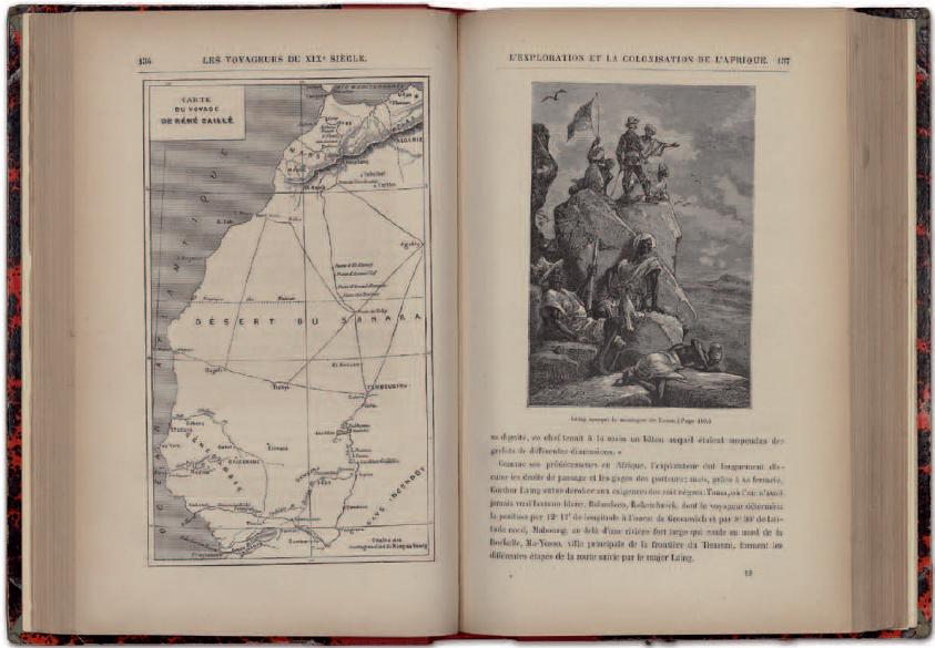 Figure 2 - Les voyageurs du XIXe siècle, de Jules Verne.           Double-page tirée de l'édition d'Hetzel (Paris, s. d. - coll.           BNU)