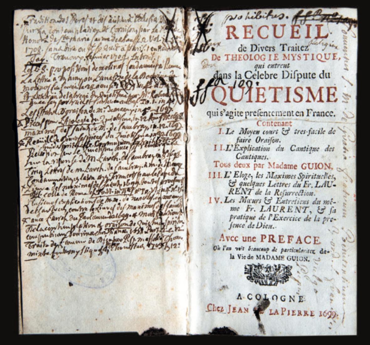 Figure 5 – Recueil de textes en particulier de           Mme Guyon, figurant à l'index depuis1689 (d'où la mention           «prohibitus») et provenant de la bibliothèque des «Frères           Pénitents du Tiers-Ordre de S.François couramment appelés Picpus»,           à Paris (coll. J.LeBrun).