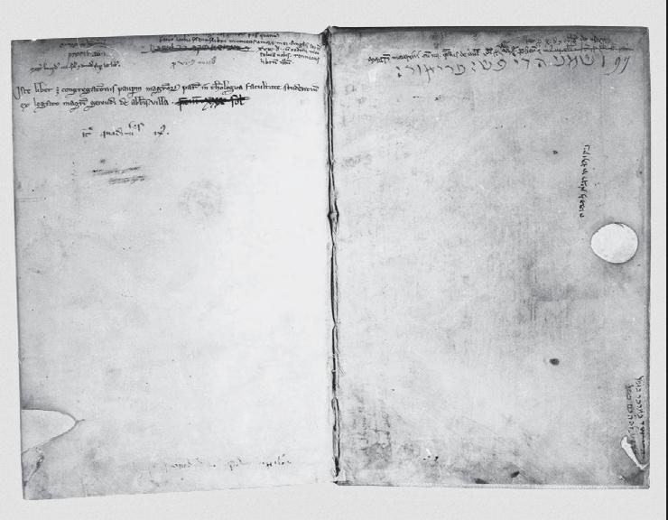 Figure 2 – Mention de propriété et de                 legs sur la page de garde d'un manuscrit du collège de la                 Sorbonne.